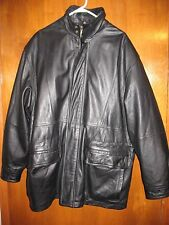 CASABLANCA Men's Large LEATHER COAT (black; zip-up) near perfect condition