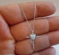 CROSS W/ HEART NECKLACE PENDANT W/ .50 CT LAB DIAMOND/ OPAL/925 STERLING SILVER