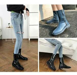 Women Ladies Chic Patent Leather Round Toe Zipper Booties Ankle Boots Shoes BGHE