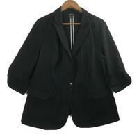 Torrid Women's Size 2 Black Open Front Blazer/Jacket One Button 3/4 Sleeve