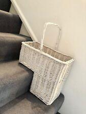 Classy White Wicker Staircase Basket Rattan Handle Key Holder Shoe Storage Stair