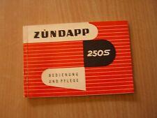 Zündapp 250S Fahrerhandbuch Betriebsanleitung Bedienung und Pflege 01.1957