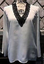 ZARA WOMAN WHITE LONG SLEEVE V NECK wBLACK LACE DETAIL BLOUSE Size XSMALL NWTs