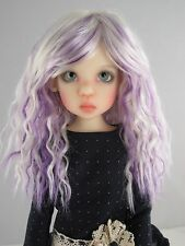 Monique SNOW Wig White Purple color Size 7-8 MSD BJD shown on Kaye Wiggs Missy