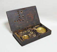 ANTIQUE DATED 1317 QAJAR SET OF SCALES LACQUERED JEWELLERS BOX ARABIC ISLAMIC