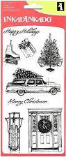 Inkadinkado Clear Stamps, Home for Christmas, Wreath, Toboggan, Ice Skates, Tree