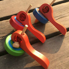 Gyroscope Handle Wire Gyro Toy Wooden Peg-Top Spinning Top Bust LG