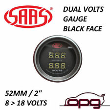 "SAAS 52mm 2"" Dual Battery Volt Gauge 8-18v Range Black Dial Face / Fitting Kit"
