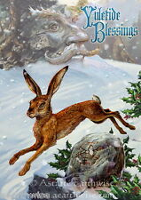 1x MIDWINTER YULE RUNE HARE GREETING CARD Wicca Pagan Witch Goth WINTER SOLSTICE