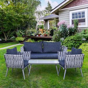 ALEKO Rattan Wicker 4-Piece Outdoor Patio Furniture Conversation Sofa Coffee Set