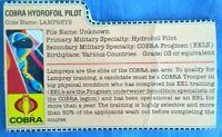 GI Joe 1985 COBRA HYDROFOIL PILOT File Card Vintage