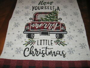 Red Truck Fabric Tapestry Table Runner Buffalo Check Plaid Farmhouse