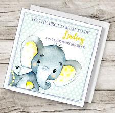 Handmade personalised Cute elephant baby shower card