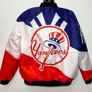 Brand New!! New York Yankees Satin Bomber Flight Jacket Red/White/Blue (XXL)