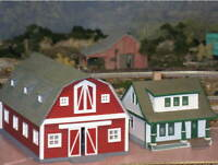 HO Scale Big Red Barn with accessories. 3D printed kit High Detail (Gray)