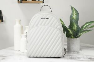 Michael Kors Abbey Medium Vegan Faux Leather Quilted Aluminum Backpack Book Bag