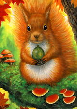 Red squirrel acorn tree autumn fall wildlife OE aceo print of painting art