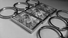 Photo  & Text Engraved Rectangle Steel Keyring - Gift / Fathers Day.