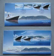 GIBRALTAR, 2x cover FDC 2007 set +S/S Cruise ships III, Queen Elizabeth 2 Mary 2