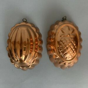 Vintage Copper Pineapple Mold And Ribbed Mold Wall Hanging Kitchen Decor