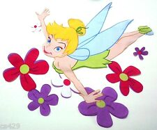 """17"""" DISNEY TINKERBELL FAIRY FLOWER CHARACTER WALL SAFE FABRIC DECAL CUT OUT"""