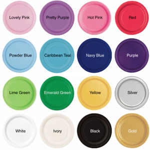 """Round Paper Plates 7"""" (20pack)  Plain Solid Colours Tableware Events Catering"""