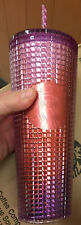Starbucks 2021 Summer Pink Purple Grid tumbler Cold cup 24oz