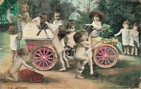 Vintage Postcard - Car With Kids and Babies. 03.33