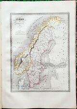 Suède et Norvége - Superbe Carte Aquarellée sur Papier Vergé 41x28 par Huot 1837