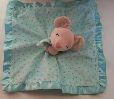 Carters Pink Mouse Plush Lovey Security Blanket - Aqua Blue Print  w/ Satin Trim