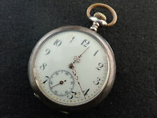 VINTAGE 51MM SWISS OPEN FACE POCKET WATCH .800 SILVER CASE - KEEPING TIME