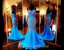 Rhinestone Crystal Long Evening Formal Party Prom Pageant Dress Celebrity Gown