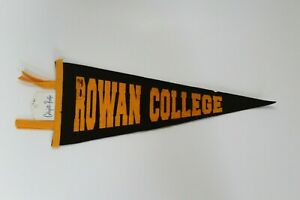 Vintage 1960s Rowan College 14 Inch Felt Wool Collectible College Sports Pennant