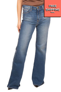 RRP€235 CURRENT/ELLIOTT Flare Jeans Size 24 Stretch Distressed Faded Made in USA