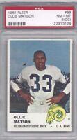 1961 Fleer football card #99 Ollie Matson, Los Angeles Rams PSA 8 OC