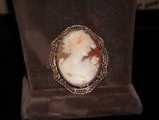 carved shell cameo pin 11.5 grams 498 14k yellow gold vintage hand