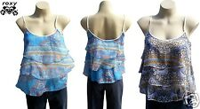 Roxy Glass Sea Babydoll Camisole Tank Top Size 12 New Ladies Blue Surf Cami $50