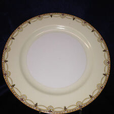 "MEITO CHINA N2007 DINNER PLATE 10"" SCROLL CROSSES SWAGS TAN EDGE GOLD TRIM"