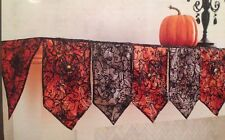 BEAUTIFUL! NEW Pier 1 Halloween Fireplace Mantel Scarf Orange & Black Spider Web