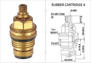 REPLACEMENT BRASS 7.7MM X 20 RUBBER TAP CARTRIDGE VALVES RC4 GLAND INSERT - EACH