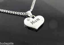 Silver Plated Necklace With Rhinestone Heart Pendant Wedding Family Favour Gift Mum