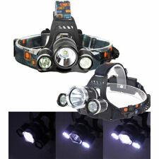 TORCIA LAMPADA FRONTALE LED RICARICABILE 3 LED 5000 LUMEN CREE T6 R5 TESTA CASCO