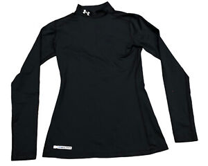 Under Armour Cold Gear Sz Medium Black Fitted Long Sleeve Mock Neck Shirt Womens