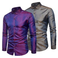 Mens Long Sleeve Casual Shirts Slim Fit Button Down Party Shiny Dress Shirt Tops