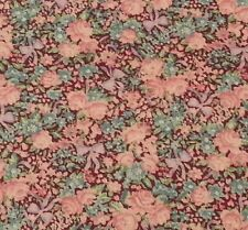 Calico by Peter Pan Fabrics BTY Pink Blue Flowers Lavender Bows on Wine