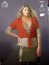 KING COLE KNITTING PATTERN LEAFLET NO.3463 LADIES CARDIGAN WITH TIES SIZE 32-46