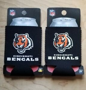 Lot of 2 - Cincinnati Bengals Black Can Cooler Koozie Holder NFL Football NEW