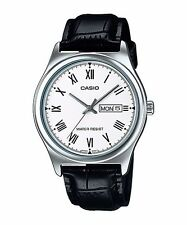 MTP-V006L-7B White Casio Men's Watch Genuine Leather Band Date Day Brand-New