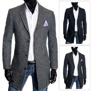 Men's Slim Fit Coat 3/4 Long Tweed Wool Cashmere Spring Overcoat Herringbone