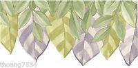 Sage Green Purple Lavender Leaf Art Deco Sculptured Pattern Cut Wallpaper Border